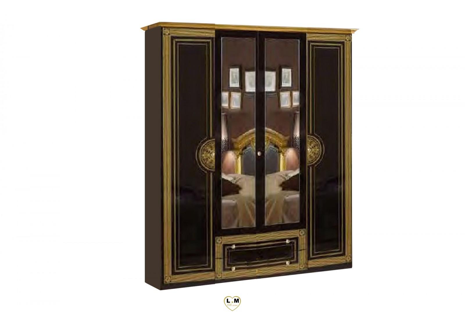 Venera laque noir dore l 39 ensemble chambre a coucher for Ensemble lit armoire commode