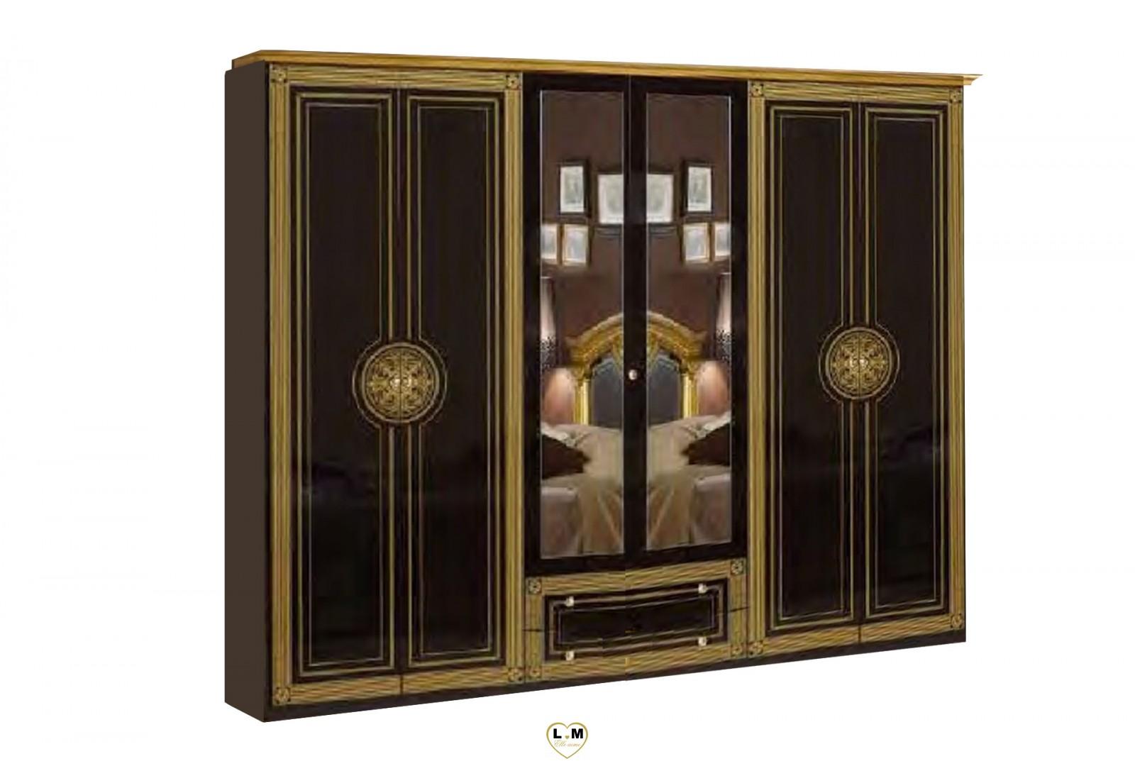 Venera laque noir dore l 39 ensemble chambre a coucher for Ensemble armoire commode chambre