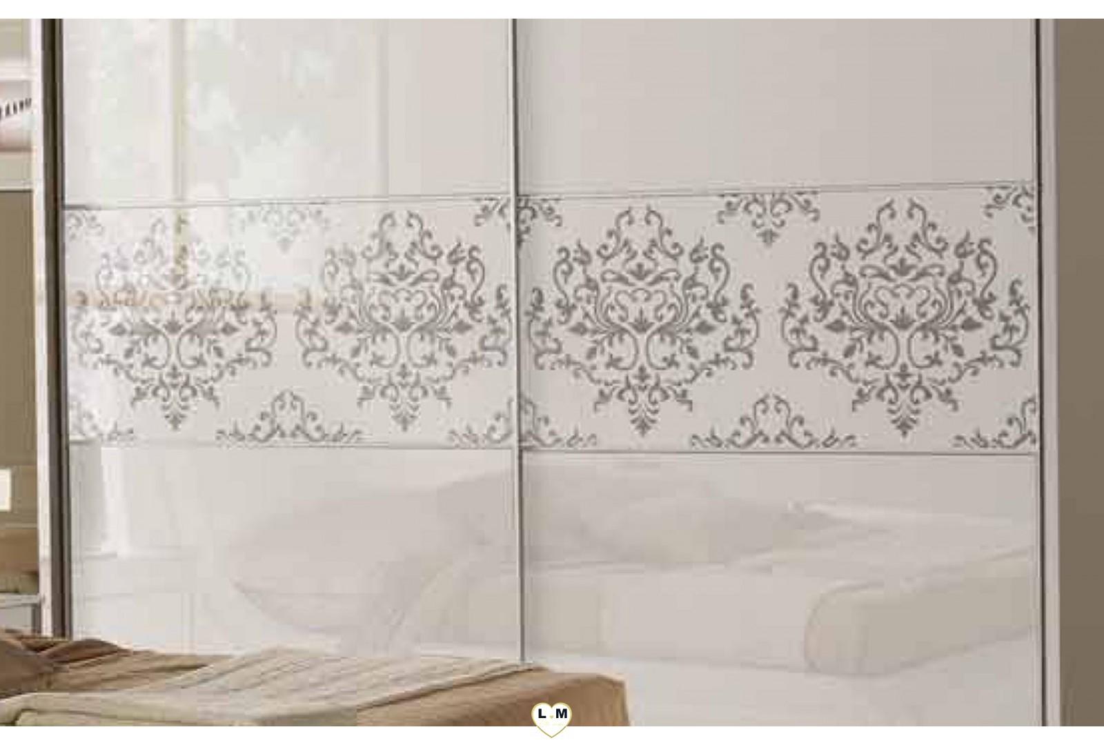 Verdiana laque blanc serigrafie ensemble chambre a coucher for Ensemble armoire commode chambre