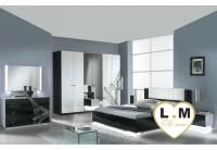 VIOLA LAQUE BLANC ET NOIR CHAMBRE A COUCHER: L'ENSEMBLE  Armoire 6 Portes + Lit 160/200 + 2 Chevets + Commode 4 Tiroirs + Miroir