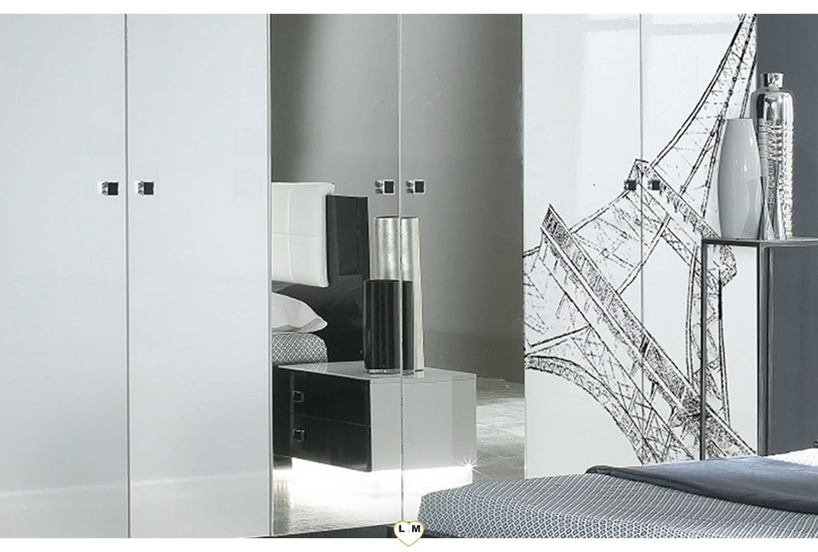chambre a coucher noir et blanc les 25 meilleures id es. Black Bedroom Furniture Sets. Home Design Ideas