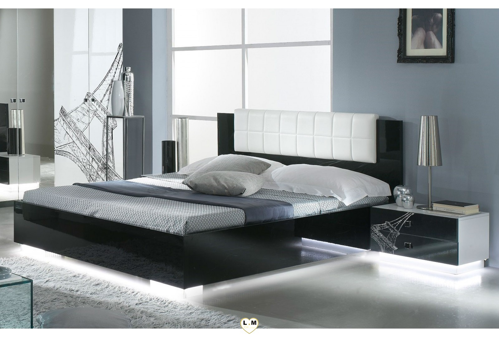 viola laque blanc et noir l 39 ensemble chambre a coucher lignemeuble com. Black Bedroom Furniture Sets. Home Design Ideas