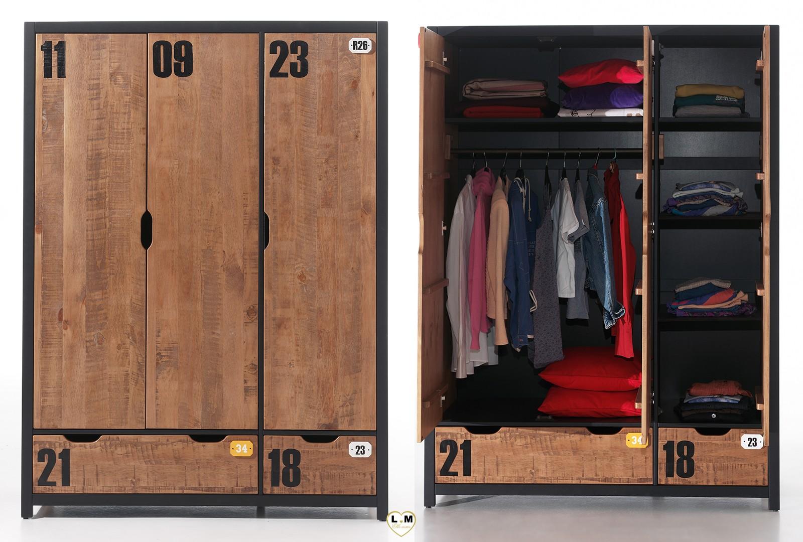 Armoire De Chambre Avec Penderie alexander pin massif brosse chambre ado: l' armoire 3 portes