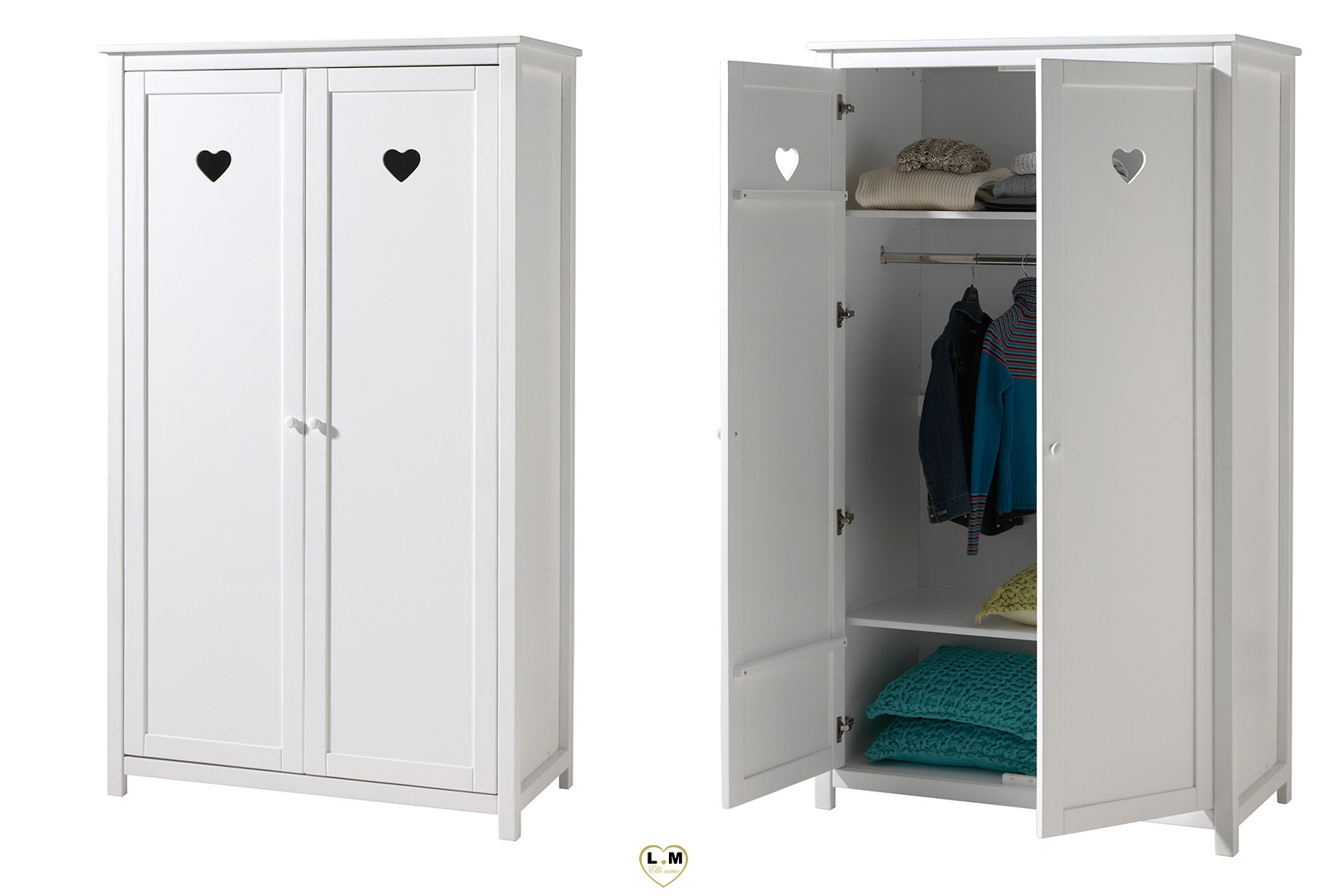 amour laque blanc mat chambre enfant l 39 armoire 2 portes 2 etageres 1 penderie longueur. Black Bedroom Furniture Sets. Home Design Ideas