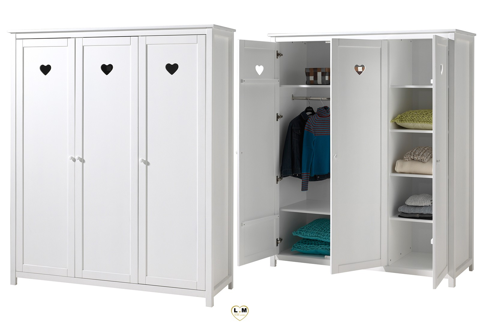 amour laque blanc mat chambre enfant l 39 armoire 3 portes. Black Bedroom Furniture Sets. Home Design Ideas