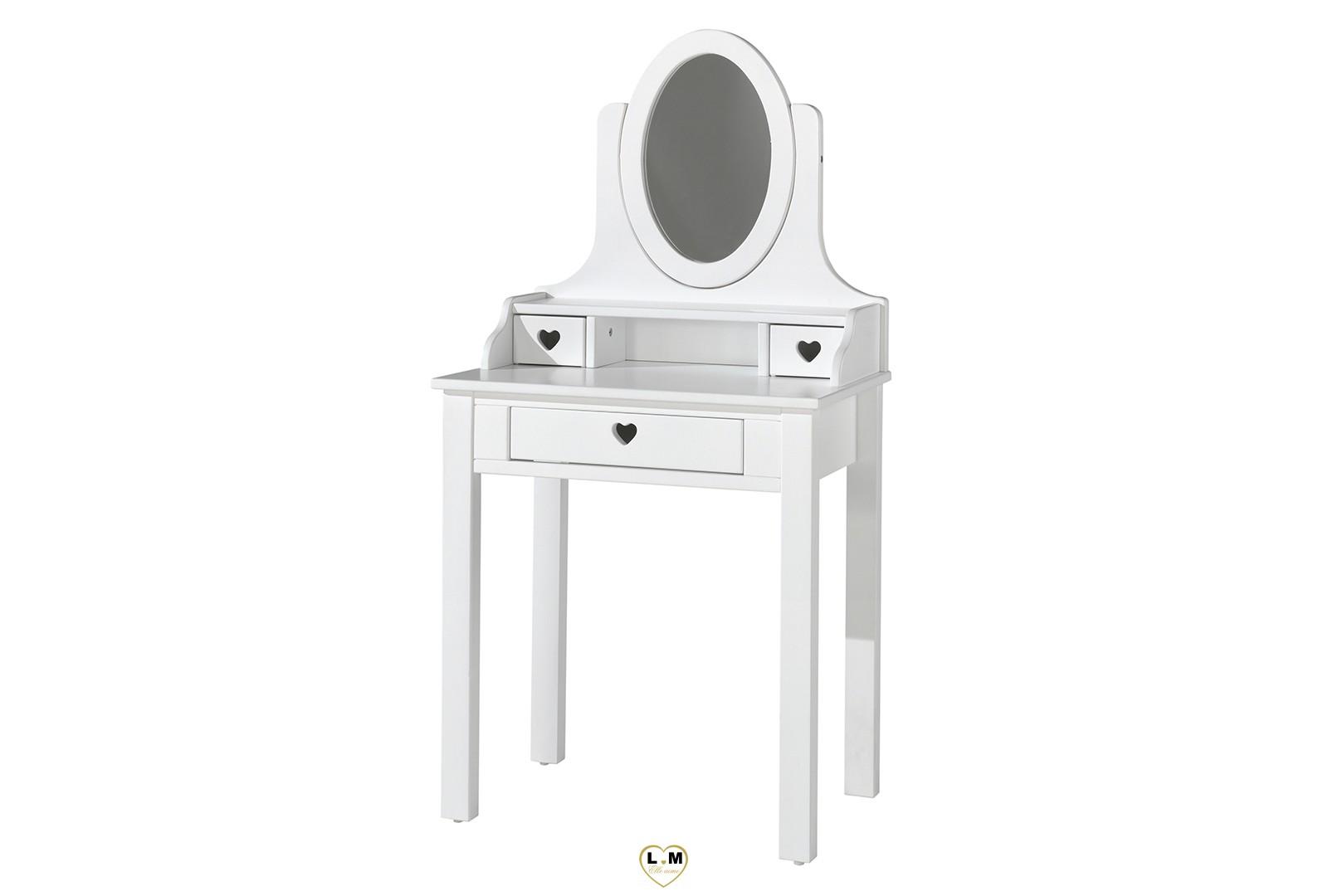 gallery of amour laqu blanc mat chambre enfant la coiffeuse tirioir credence avec miroir with. Black Bedroom Furniture Sets. Home Design Ideas