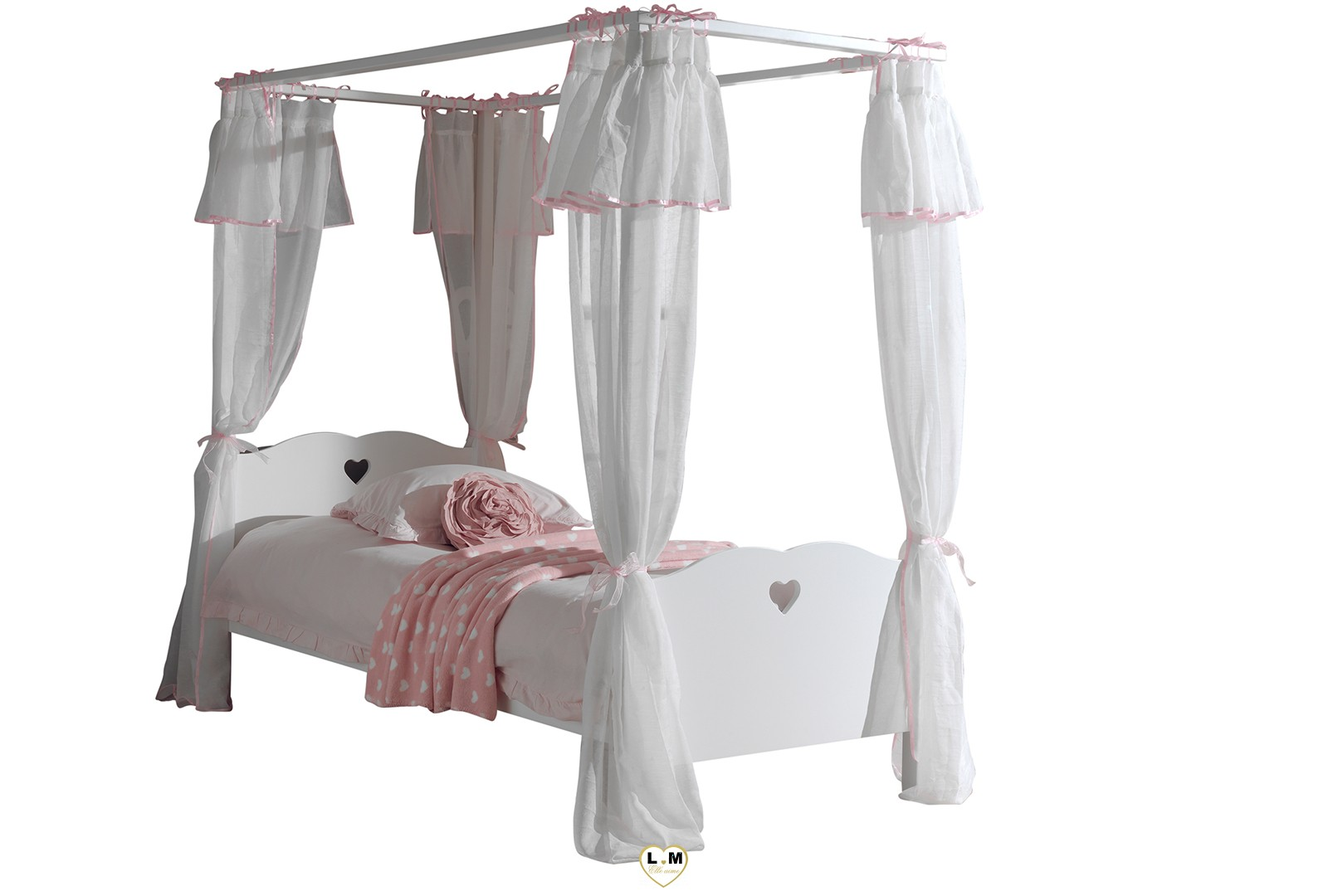 amour laque blanc mat chambre enfant rideaux voilage pour lit baldaquin lignemeuble com. Black Bedroom Furniture Sets. Home Design Ideas