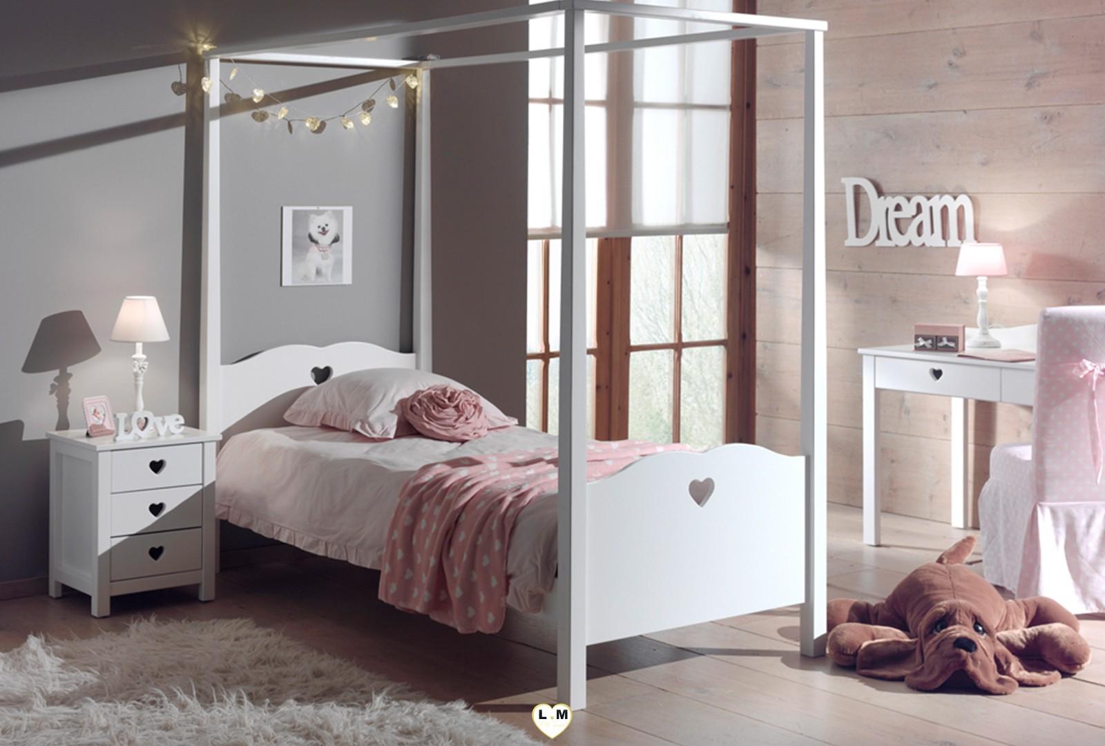 Amour baldaquin laque blanc mat ensemble chambre enfant lignemeuble com - Chambre d amour vin blanc ...