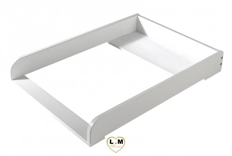 AMOUR LAQUÉ BLANC MAT CHAMBRE BÉBÉ: Le Plan à Langer -  Support Pour Commode - Longueur: 76 cm - Profondeur: 54 cm - Hauteur: 10 cm.