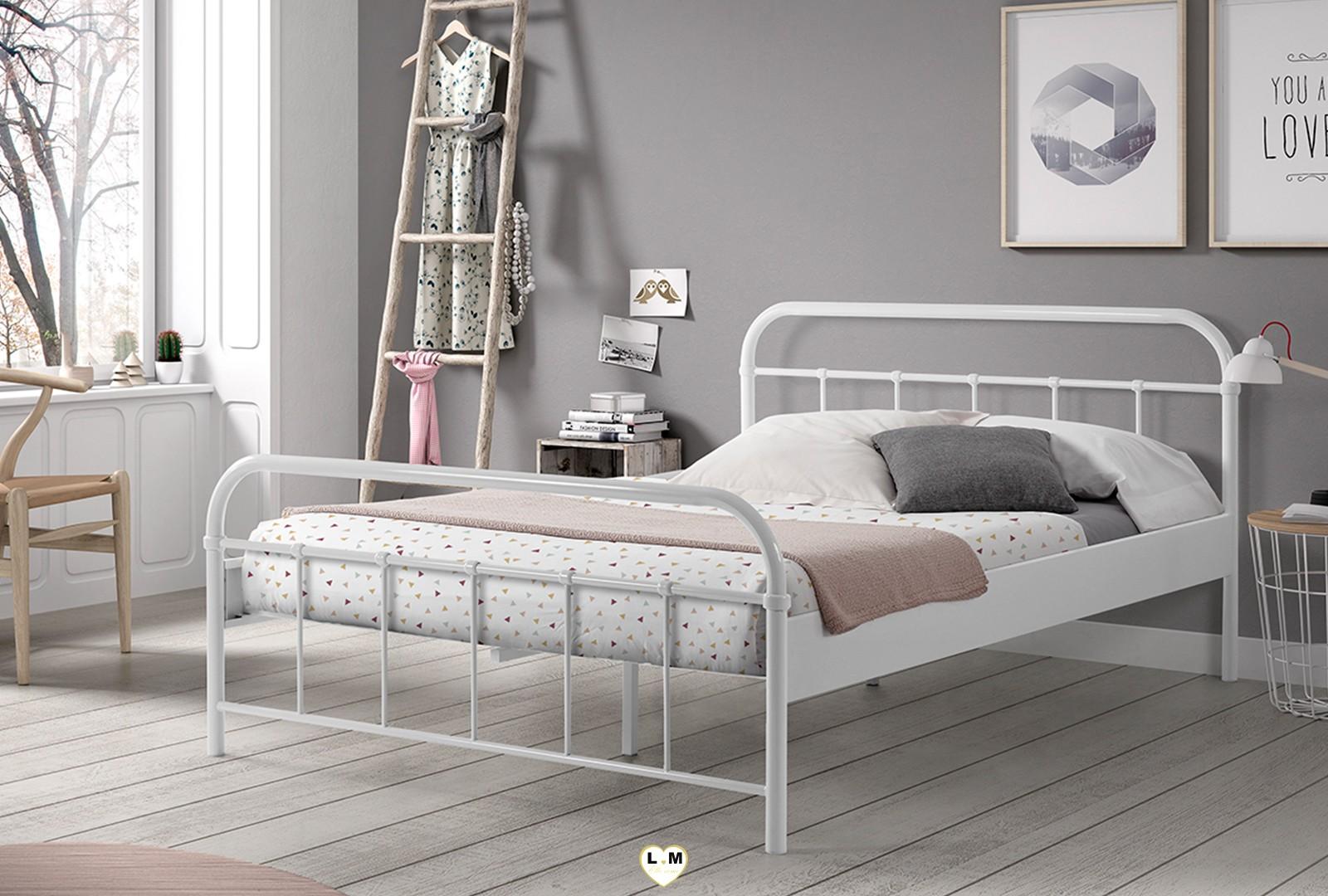 boson lit metal 2 places lignemeuble com. Black Bedroom Furniture Sets. Home Design Ideas