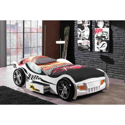 TURBO RACING BLANC LIT VOITURE ENFANT