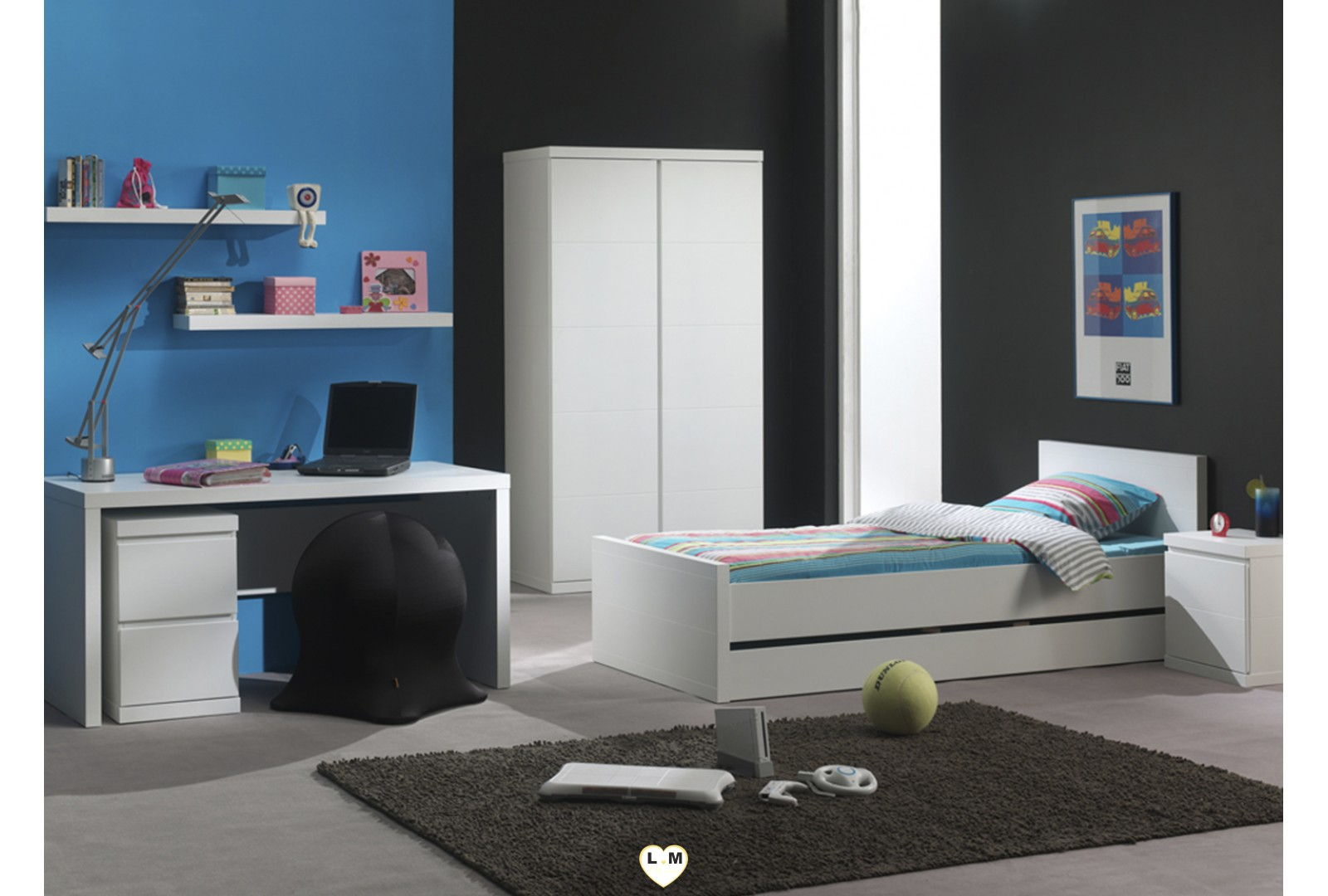 laramy chambre ado le chevet lignemeuble com. Black Bedroom Furniture Sets. Home Design Ideas