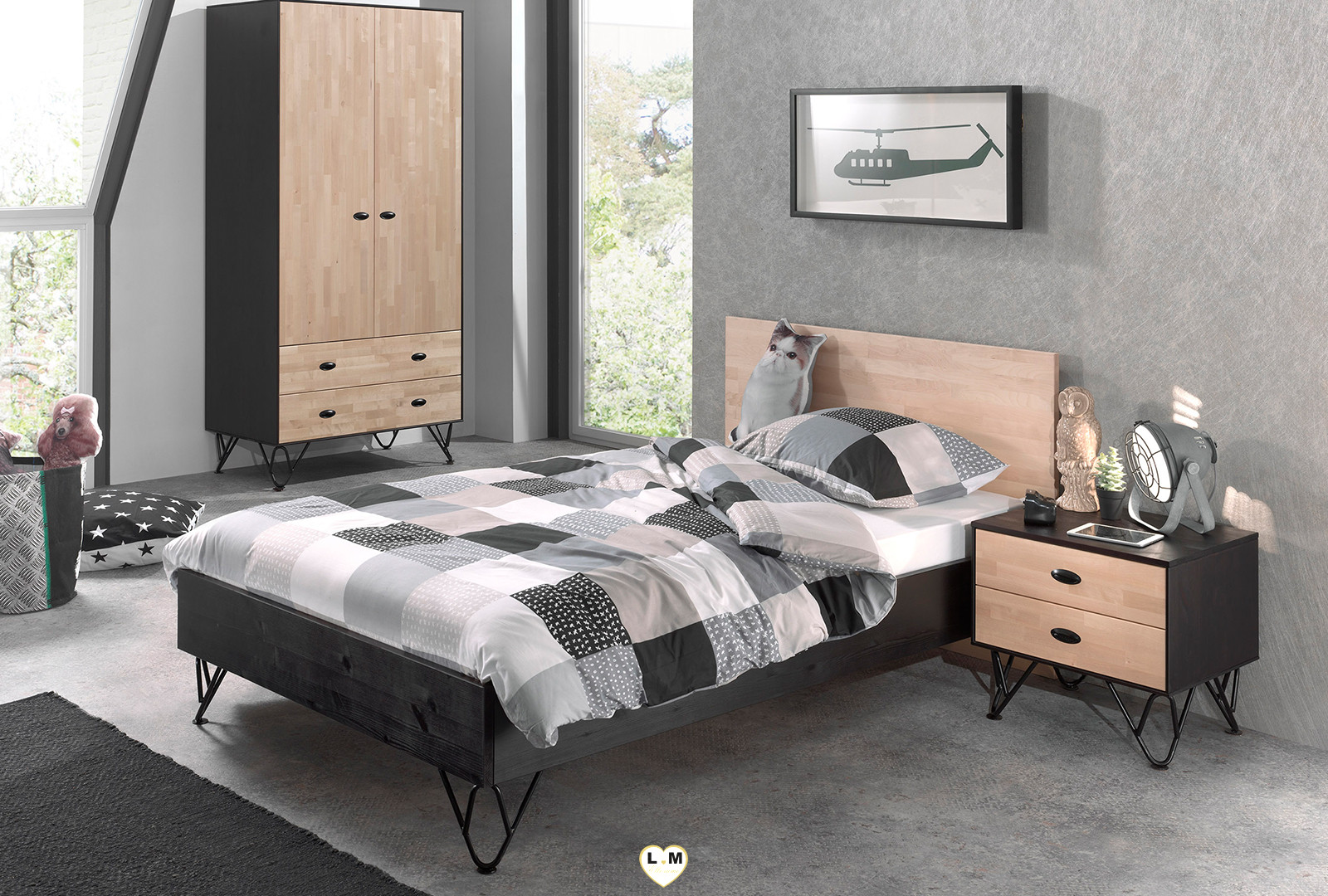 willy chambre ado l 39 armoire 2 portes lignemeuble com. Black Bedroom Furniture Sets. Home Design Ideas