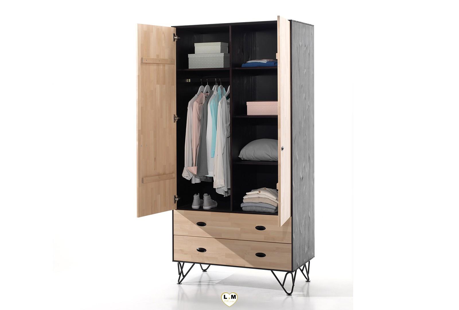 willy chambre ado l 39 armoire 2 portes lignemeuble com. Black Bedroom Furniture Sets. Home Design Ideas