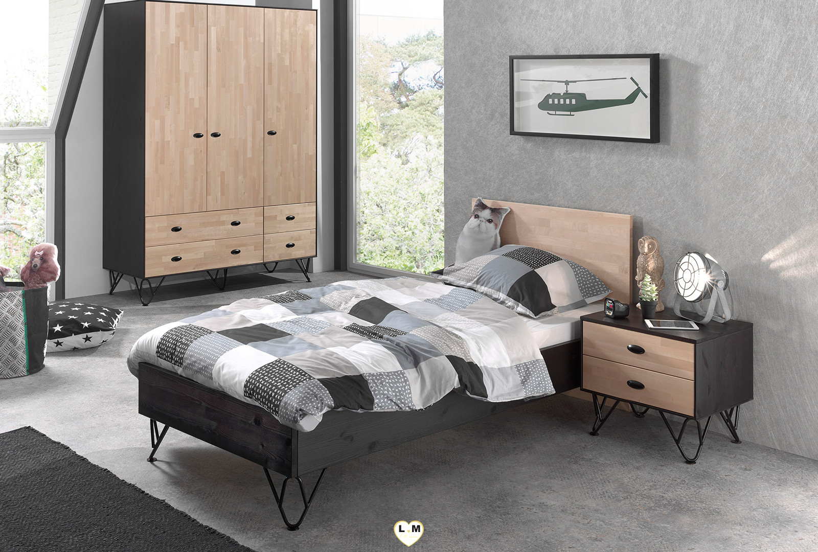 willy chambre ado l 39 armoire 3 portes lignemeuble com. Black Bedroom Furniture Sets. Home Design Ideas