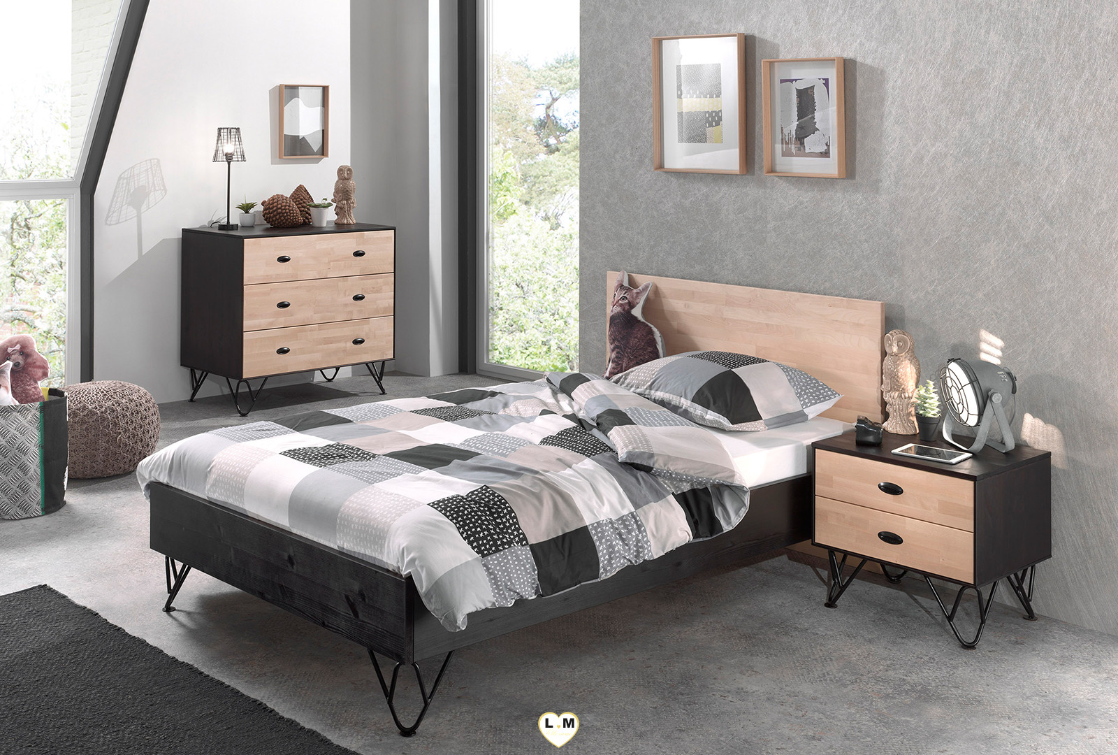willy chambre ado le grand lit 120x200 lignemeuble com. Black Bedroom Furniture Sets. Home Design Ideas